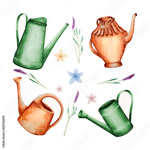 Obraz na plátně Set of garden watering can watercolor, lavender flowers, hand drawing, background