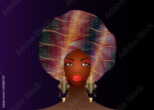Fototapeta Nigerian Headtie, portrait African American woman wearing ethnic Afro turban, gold earrings