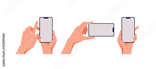 Photo Female hand holding smartphone, empty screen, phone mockup, application on touch screen device