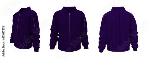Obraz na płótnie Bomber jacket mockup, design presentation for print, 3d illustration, 3d renderi