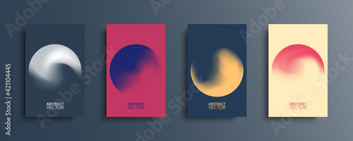 Photo Abstract circle backgrounds set with modern abstract dark color gradient