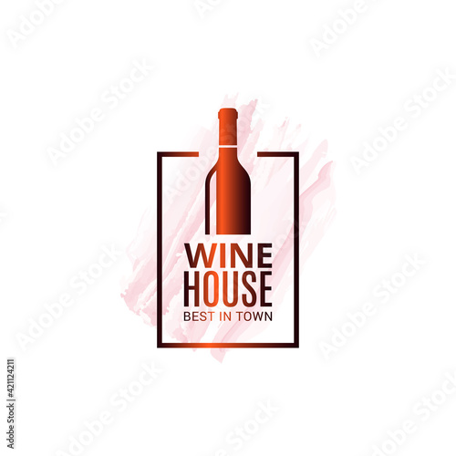 Canvas Print Wine bottle watercolor logo. Winehouse icon white