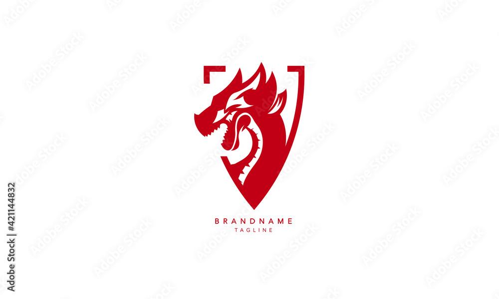 Minimal Creative Dragon logo, Abstract Dragon Vector