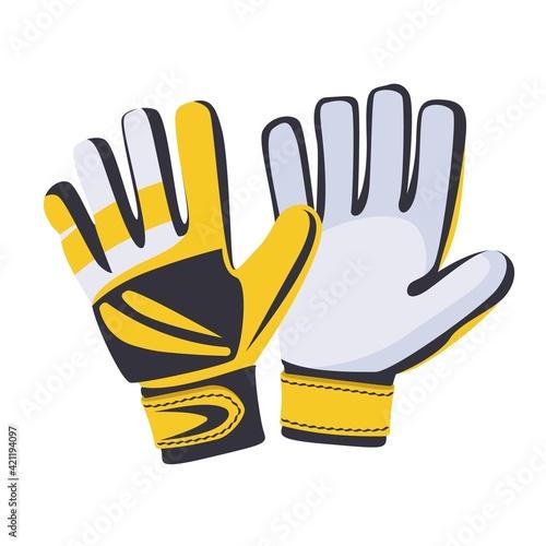 Leinwand Poster Football or soccer goalkeeper glove isolated on white