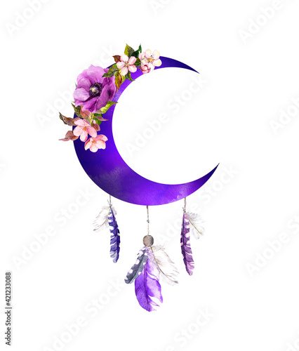 Valokuva Violet crescent moon with flowers, feathers
