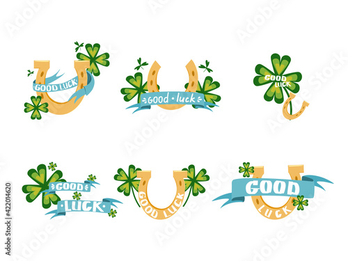 Fotografie, Tablou A set of vector illustrations with a four-leaf clover, a horseshoe and a ribbon and a wish of good luck
