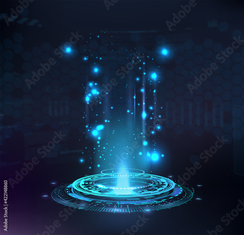Magic portal, hologram, circle teleport or Sci-fi gadget Fototapete