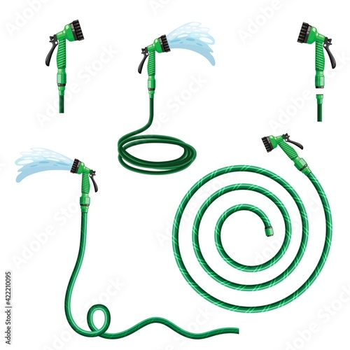 Fotografia garden hose with watering can flat illustration. hand tool