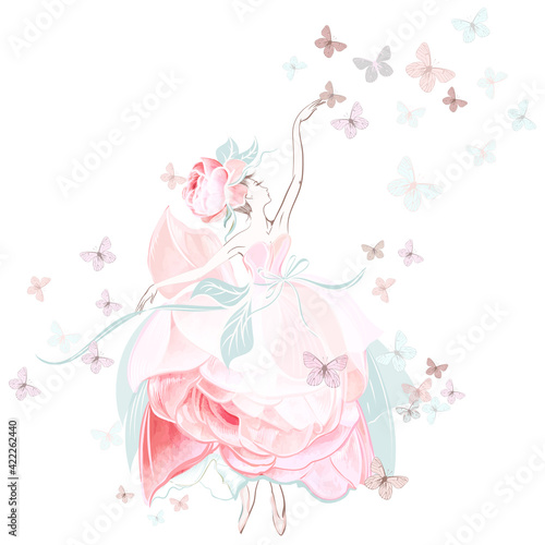 Fotografiet Fashion vector illustration with ballerina dancer in pink rose dress and butterf