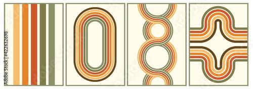 Fotografia retro vintage 70s style stripes background poster lines