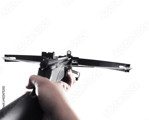 Fotografia Forest hunting crossbow gun isolated on colored background