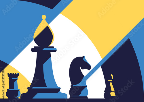 Canvas Print Banner template with different chess pieces