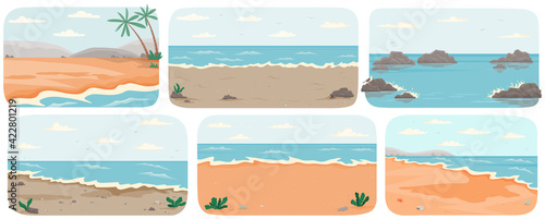 Canvas Print Set of illustrations with sea landcapes