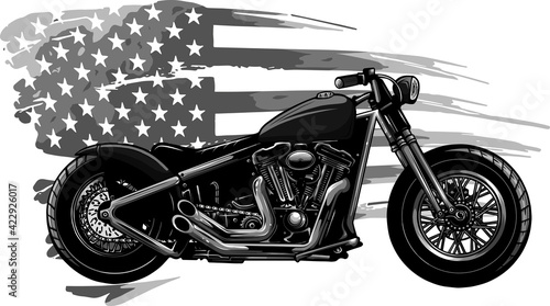 Stampa su Tela design of chopper motorcycle with american flag vector illustration