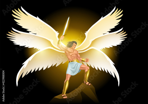 Michael the Archangel with six wings holding a sword Fototapet