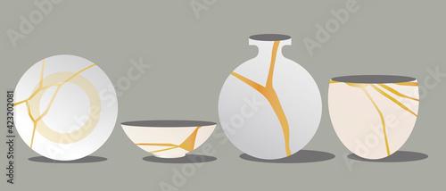 Fotografia, Obraz Kintsugi Japanese tableware set isolated