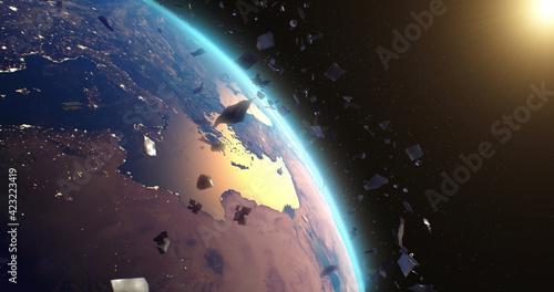 Obraz na płótnie Space debris around planet Earth
