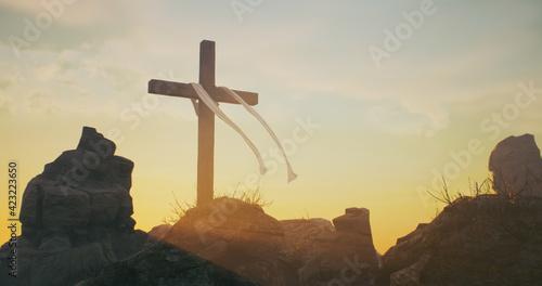 Fotografía Cross on Jesus Christ grave
