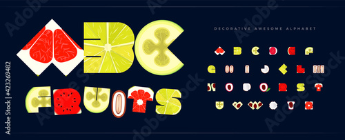 Fresh fruit font for logo tropical fruity. Alphabet for restaurant and cafe, menu letters set. Decorative typography healthy food and juice vitamin. Summer typographic design.