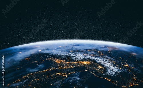 Photo Planet earth globe view from space showing realistic earth surface and world map as in outer space point of view