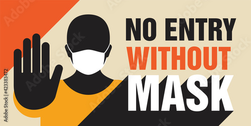 Canvas Print No entry without mask - person with stop gesture