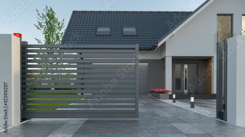 Foto Automatic Sliding Gate and house, 3d illustration