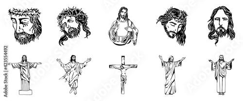 Fotografija Vector illustration of Jesus Christ, God and bible