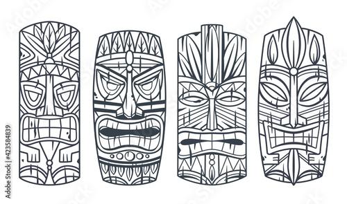 Trendy hawaii wooden tiki mask for surfing bar. Traditional ethnic idol of hawaiian, maori or polynesian. Old tribal totem