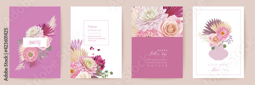 Happy Mothers day watercolor card set Fototapet