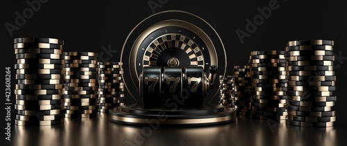 Fotografering Roulette Wheel, Slot Machine And Casino Chips, Modern Black And Golden Isolated On The Black Background