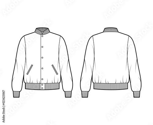 Fotografering Varsity Bomber jacket technical fashion illustration with Rib baseball collar, cuffs, waistband, buttons fastening, oversized, long sleeves