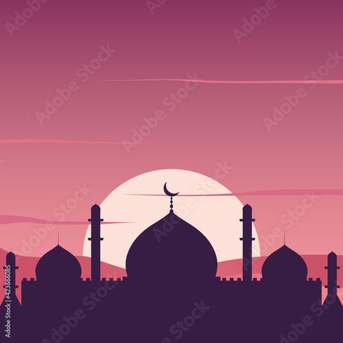 Valokuvatapetti Islamic Mosque Silhouette with Sunset on Desert Illustration