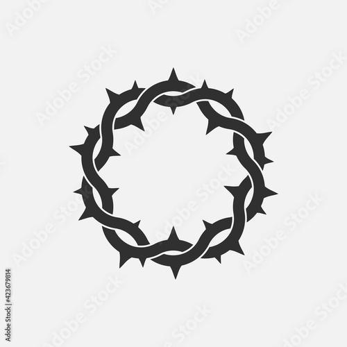Stampa su Tela Crown of thorns icon. God friday. Vector illustration.