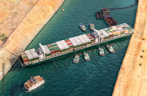 Valokuvatapetti Ever given has been freed in Suez Canal