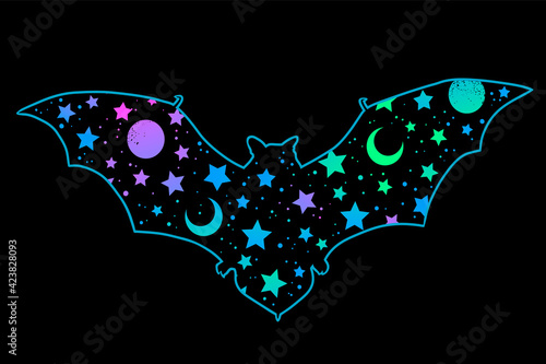 Fotografiet bat silhouette with bright space pattern