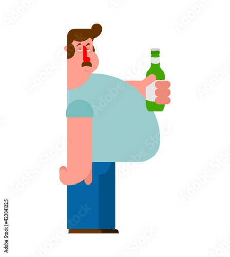 Canvas Beer lover. Man and bottle of beer. Alcoholic concept