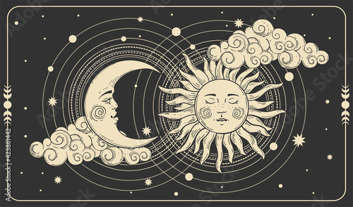 Fotografie, Obraz Sun and a crescent moon with a face on a black cosmic background