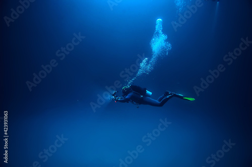 Fotografie, Tablou cave diving, diver underwater, dark cave, cavern landscape