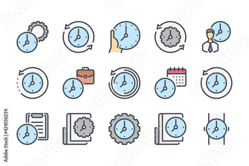 Foto Time management and measurement color line icon set
