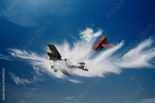 First world war Red Baron dogfight concept Fototapet