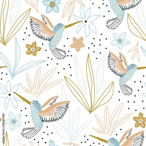 Seamless childish pattern with hand drawn collibi,florals Fototapeta