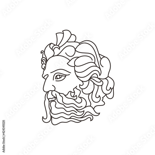 Obraz na płótnie Greek god Poseideon Line art Logo