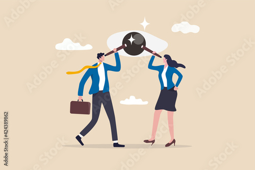 Canvas Sharing same business vision, teamwork strategy to achieve goal together, work collaboration to win same mission concept, business people team members using telescope to look into same visionary