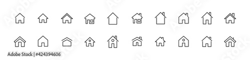 Foto Vector set of house thin line icons.