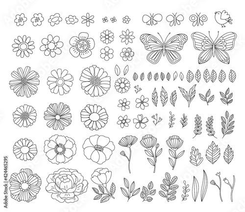 Obraz na plátně Vector hand-drawn spring design elements