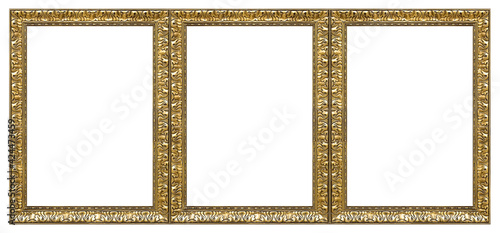 Fotografia Triple golden frame (triptych) for paintings, mirrors or photos isolated on white background