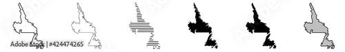 Photo Newfoundland and Labrador Map Black | Province Border | Canada State | Canadian