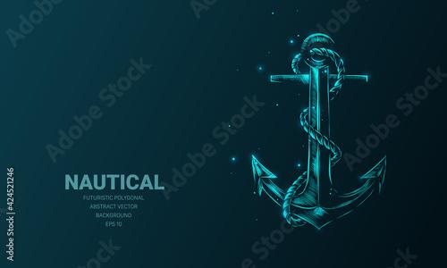 Fotografia, Obraz Futuristic illustration with hologram neon nautical anchor sketch, concept glowing icon sign on dark background
