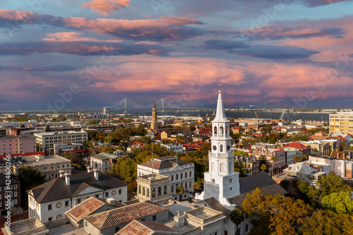 Fotografia Personal Drone In Action In The City Of Charleston, SC