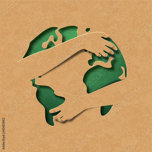 Green earth map paper cut hug concept isolated Fototapet